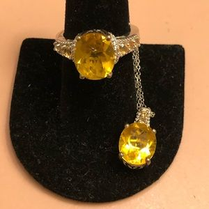 Canary Yellow Fluorite/Citrine Sterling Sz8